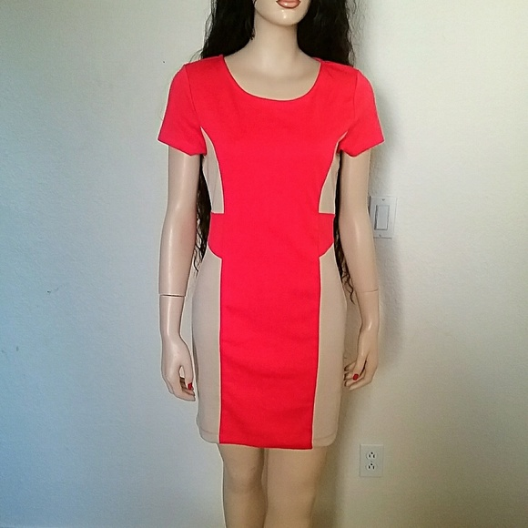 6186cbb87cd Forever 21 Dresses   Skirts - 💜 Forever 21 Coral and Beige Cotton Midi  Dress!